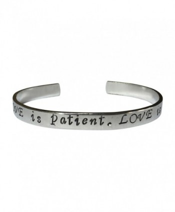 "Love Is Patient. Love Is Kind Hand Stamped 1/4"" Aluminum Cuff Bracelet - CO12N0C59US"