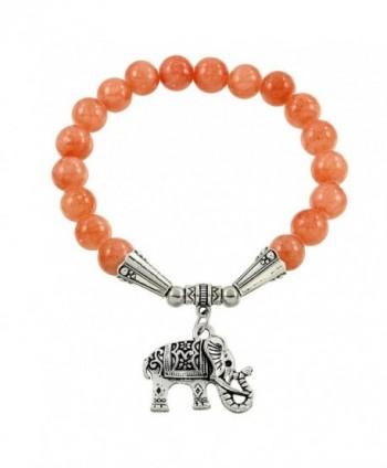 Falari Elephant Lucky Charm Natural Stone Bracelet Peach Quartz B2448-PQ - CL124HGLA0H