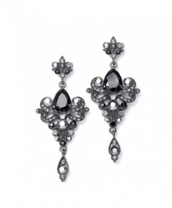 Mariell Vintage Black and Grey Crystal & CZ Chandelier Dangle Earrings for Fashion- Prom- Bridesmaids - CH12O0WQVZ9