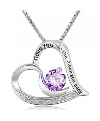 "CoolJewelry Sterling Silver Heart Necklace ""I Love You To The Moon And Back"" Pendant - Purple - CH1855DREQE"