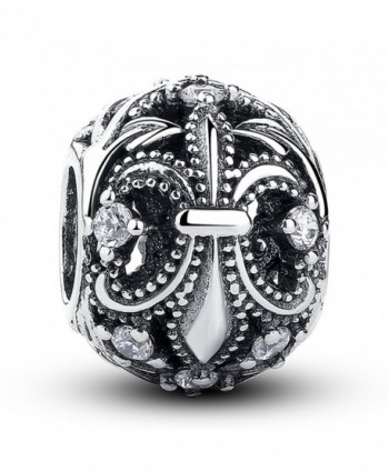 The Kiss Fleur-De-Lis With Clear CZ 925 Sterling Silver Bead Fits European Charm Bracelet - CM11LGWD2PD