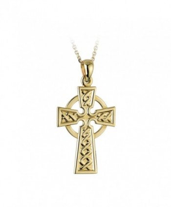 Celtic Cross Necklace Engraved Gold Plated Irish Made Jewelry by Tara - C4116EI6YZ9