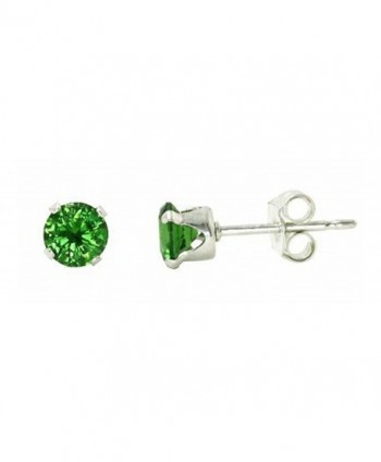Sterling Silver Green 4mm Round Cubic Zirconia CZ Stud Earrings - CP115OX8EY9