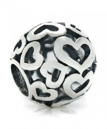 BELLA FASCINI Open Heart Bead Charm Sterling Silver Fits Compatible Bracelets and Bangles - CI128RVCX6J