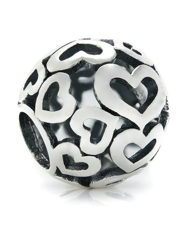 BELLA FASCINI Open Heart Bead Charm Sterling Silver Fits Compatible Bracelets and Bangles - CI128RVCX6J