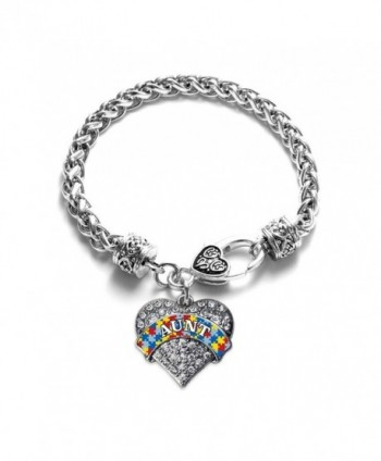 Autism Aunt Pave Heart Bracelet Silver Plated Lobster Clasp Clear Crystal Charm - CN123HZ024Z