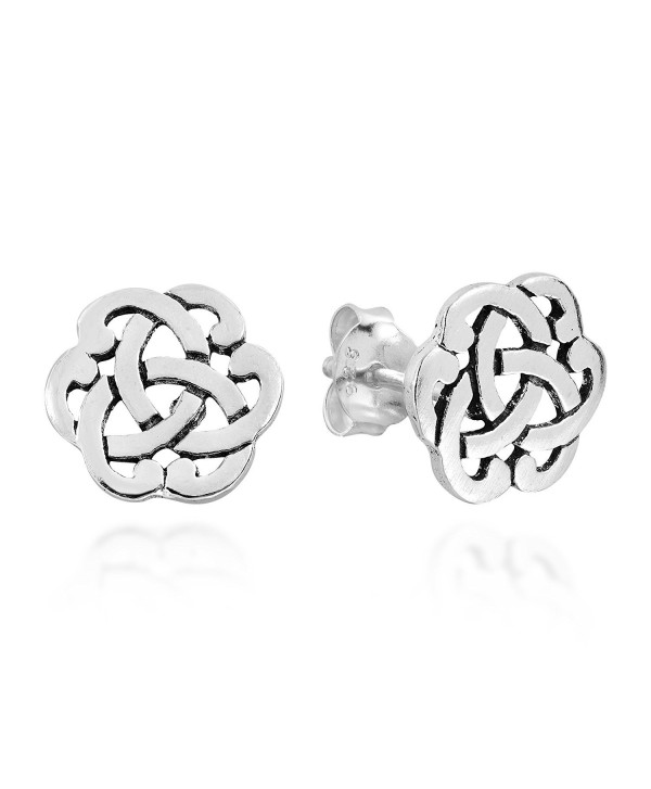 Interlocking Celtic Knot .925 Sterling Silver Stud Earrings - C112N219HQY