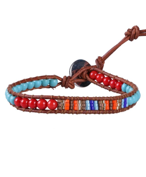 KELITCH Turquoise Red Agate Mix Seed Bead Woven Single Wrap Bracelet Handmade Fashion Women/Men Jewelry - Red - CF128FFYQ17