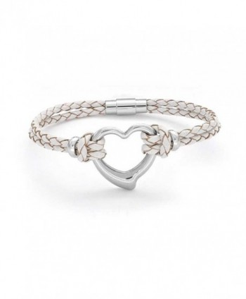 Bling Jewelry Stainless Steel Heart White Leather Bracelet Braided Cord - CV11017GCNX