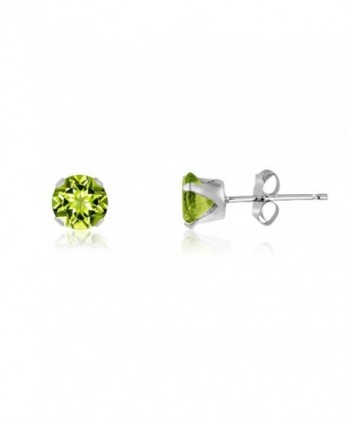 Round 4mm Genuine Peridot Stud Earrings (0.52 cttw) Sterling Silver- 14k Yellow or Rose Goldplate - CJ11IWLCDHJ