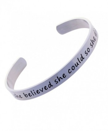 She Believed She Could And So She Did - Stainless Steel Cuff Bracelet Inspirational Gift - CI12O6RZB8O