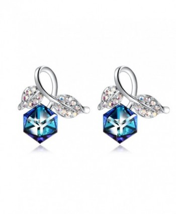 PLATO H Change Color Earrings Leaf Stud Earring With Swarovski Crystal Luxury Woman earrings - Blue - CH183NMERTC