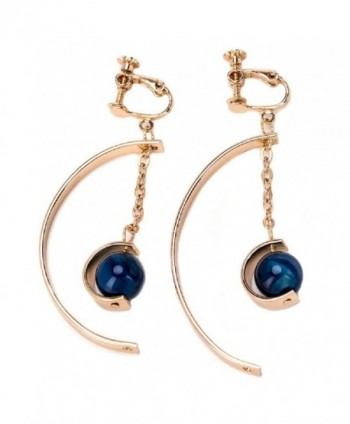 Korean Style Creative Geometry Design Semi-curved with Blue Bead Pendant Ear Clips / Earrings for Women - CX182Z5M0H6