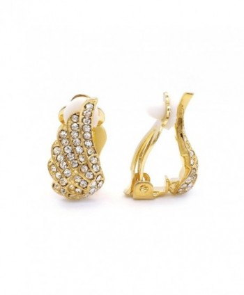 Clip On Earrings Guardian Angel Wings Pave Crystal Fashion Women Fashion - Goldtone - C2128691RUZ