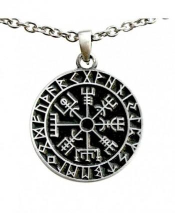 Vegv&iacutesir wayfinder Guidepost Safe Travel Compass Talisman Viking Pewter Pendant - C3187TX5DUK
