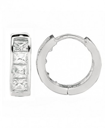 Sterling Silver Princess-cut Cubic Zirconia Huggy Hoops Huggies Hoop Earrings 4x12.2 Mm - CU12JQY68OT