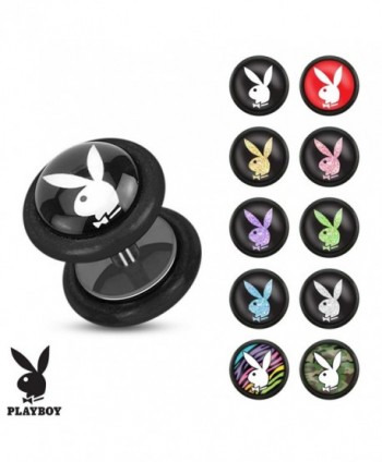 Playboy Bunny Logo Prints Inlay 16 GA Black Acrylic Fake Plug with O-Rings (Sold Individually) - CR11UX298P5