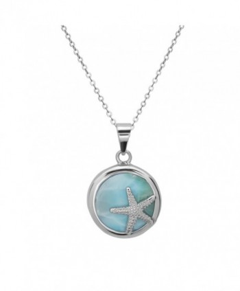 "Sterling Silver Natural Larimar Starfish Circle Pendant with 18"" Chain - CP11ABUECFT"