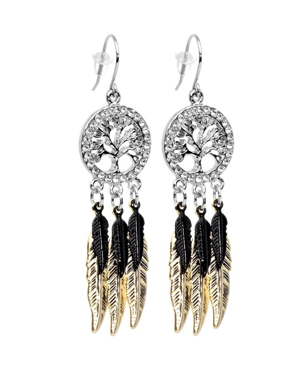 Body Candy Stainless Steel Clear Accent Falling Black Feathers Tree of Life Fishhook Dangle Earrings - CC128Z11JJD