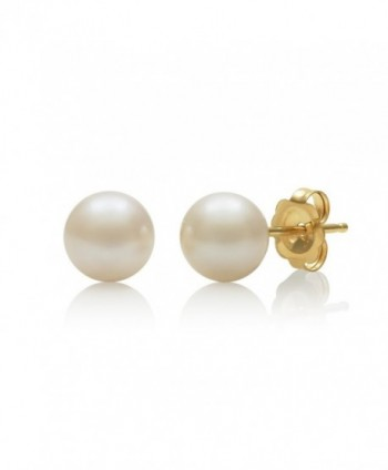 14K Gold AAA Quality White Cultured Freshwater Pearl Stud Earrings - C811LETLOY9