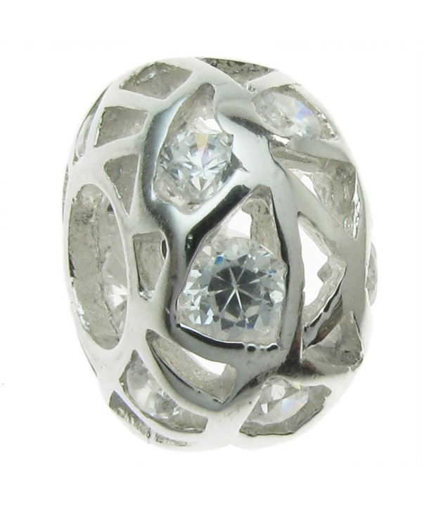 Sterling Silver Cubic Zirconia Simulated Birthstone European-style Bead Charm - C0115BS4MRP