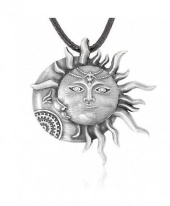 Dan's Jewelers Sun Moon Face Pendant Necklace- Fine Pewter Jewelry - CK182TD0KX8