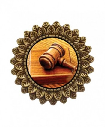 GiftJewelryShop Ancient Style Gold-plated Judge's Tool Gavel Leaves Cameo Pins Brooch - CL11T80TLRD