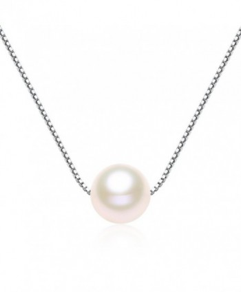 Single Pearl Necklace 7-8mm Freshwater Cultured Pearl 925 Sterling Silver Box Chain - VIKI LYNN - CH11DTEJYXF