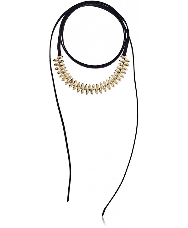 Steve Madden Womens Suede Wrap Around Bead Choker Necklace - Gold - CK12O222D1U