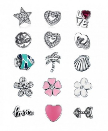 BAMOER 925 Sterling Silver Petite Memory Charms for Women Locket Neckalce - Ocean Charm - CL186ZGNLWR