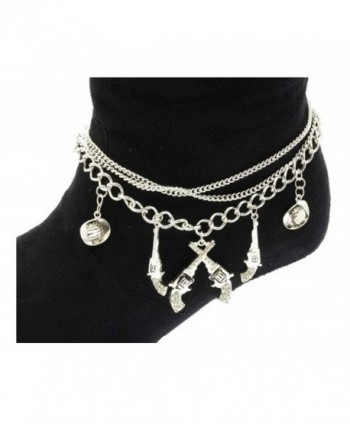 Fashion Jewelry ~ Pistols and Cowboy Hat Boot Charm Anklet (Boot Charm 056a 24) - CN11DRBU23L