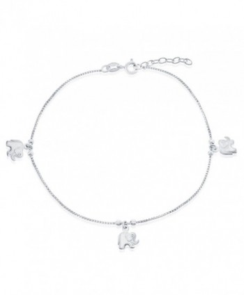 """Sterling Silver 9"""" + 1"""" Extension Hanging Elephant Charm Anklet - C011YOUKX6F"""