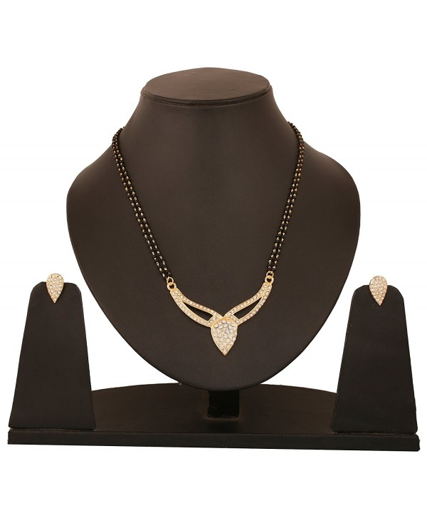 Touchstone bollywood rhinestones mangalsutra necklace - CO12M888ZPZ