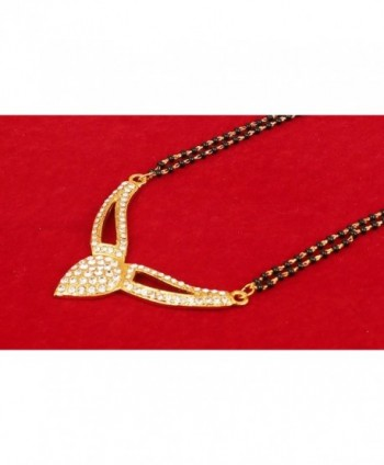 Touchstone bollywood rhinestones mangalsutra necklace in Women's Pendants