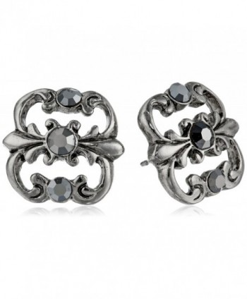 "Downton Abbey ""Carded"" Antique Silver-Tone Hematite Stud Earrings - CQ11I5X8SJB"
