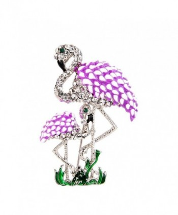 EVER FAITH Austrian Crystal Enamel Family Mother and Child Flamingo Bird Brooch Pink Silver-Tone - CL12MODKPBL