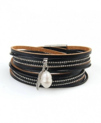 Genuine Leather Vintage Bracelet Jenia - leather bracelet-black - C7184438NG4