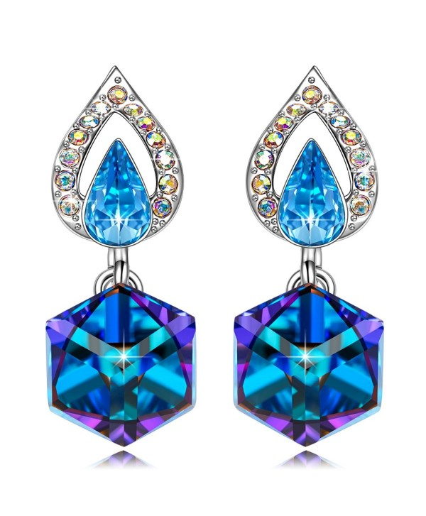 "KATE LYNN ""Happy Cube"" Earrings Gifts for Women and Girls Women Jewelry Bermuda Blue with SWAROVSKI Crystals - CR188CXK27C"