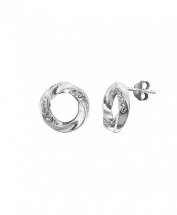 Sterling Silver Sparkly Crystal Twisted Round Circle Shape Stud Earrings - CX12KMQL7RX