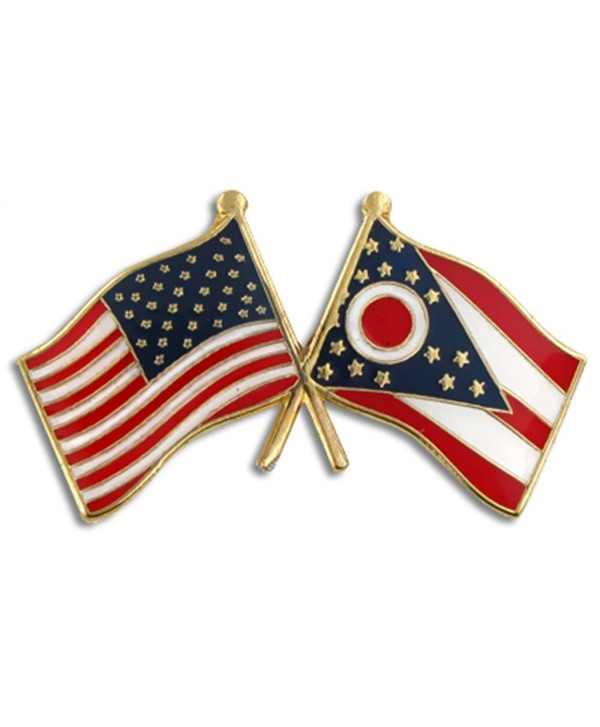 PinMart's Ohio and USA Crossed Friendship Flag Enamel Lapel Pin - CE11L2LWU3N