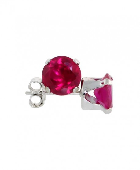 Sterling Silver Cubic Zirconia Ruby Earrings Studs 6 mm Red Color 2 carat/pair - C11132JN4M9