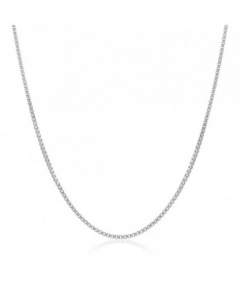 0.7mm 925 Sterling Silver Nickel-Free Box Chain Necklace - Made in Italy + Jewelry Polishing Cloth - CU11OO4SE5N