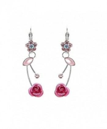 Glamorousky Elegant Pink Rose Earrings with Pink Austrian Element Crystals and Crystal Glass (760) - CK118SODNJH