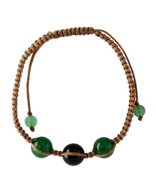 NOVICA Dyed Black and Green Onyx Macrame Shambhala Style Bracelet- Adjustable- 'Protective Tranquility' - CA127W133NH