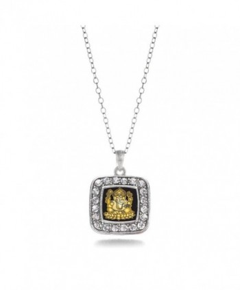 Ganesh Ganapati Hindu Charm Classic Silver Plated Square Crystal Necklace - CT11MCHW21L