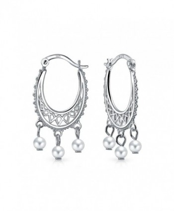 Bling Jewelry Freshwater Cultured Pearl Sterling Silver Dangle Hoop Earrings - CA129JADHTN