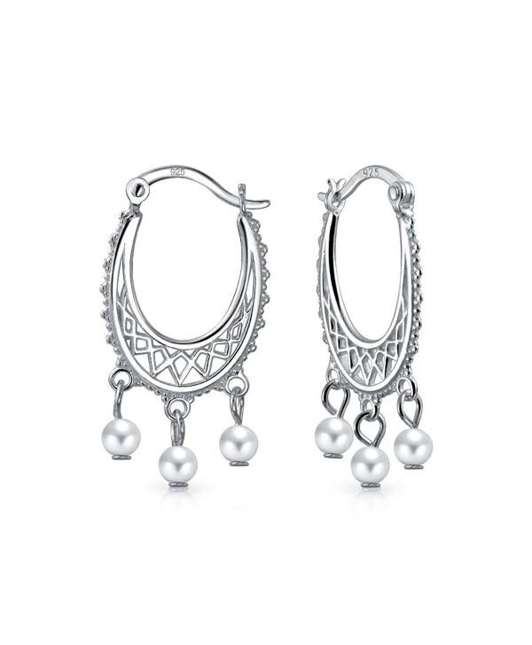 Bling Jewelry Freshwater Cultured Pearl Sterling Silver Dangle Hoop Earrings - CA129JADHTN