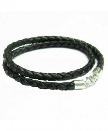 Sterling Silver Black Bolo Braided Leather 3mm Cord Choker Necklace for European Bead Charms - CR115YUTKCH