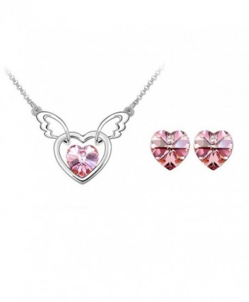 Swarovski Elements Crystal Necklace Earrings - Pink - CW11WXTDWB7