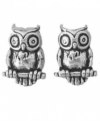 Corinna-Maria 925 Sterling Silver Owl Earrings Studs Tiny Mini Stainless Steel Posts and Backs - C2115W726PF